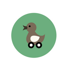Stylish icon in color circle duck toy vector