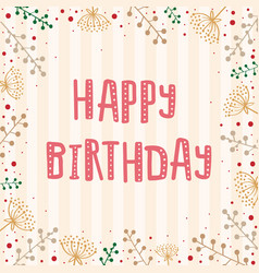 template greeting card with text happy birthday vector image vector image