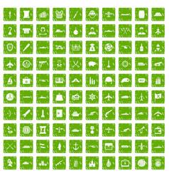100 combat vehicles icons set grunge green vector