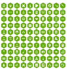 100 student icons hexagon green vector
