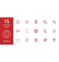 15 world icons vector image