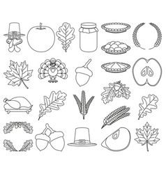 23 line art black and white thanksgiving elements vector