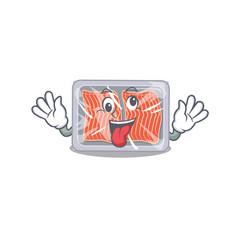 A cartoon design frozen salmon having a crazy vector