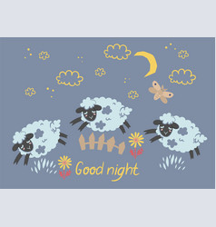 A poster cute sleepy lambs jumping over fence vector
