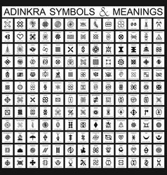 African adinkra symbols with their meanings vector