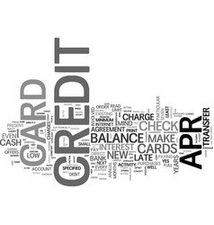 apr credit cards a way to eliminate debt text vector image