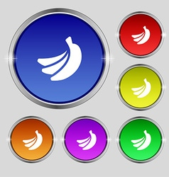 Banana icon sign Round symbol on bright colourful vector