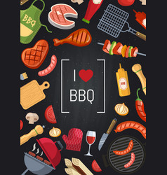 Barbecue or grill with coking elements on vector