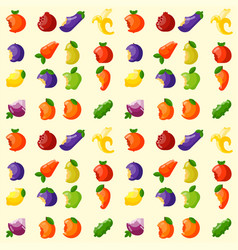 bitten fruits vitamin food seamless pattern vector image