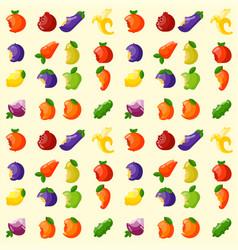 Bitten fruits vitamin food seamless pattern vector