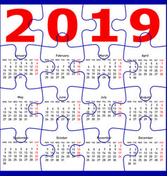 calendar for 2019 new year jigsaw puzzle texture vector image