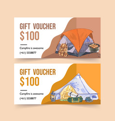 Camping voucher design with backpack lantern vector