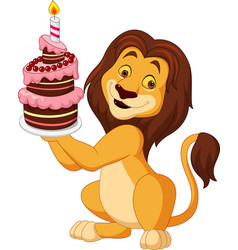 Cartoon lion holding birthday cake vector