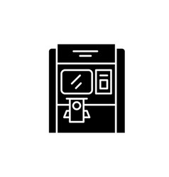 cash dispenser black icon sign on isolated vector image