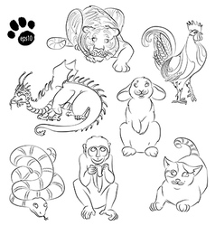 Cat Cock dragon monkey rabbit snake tiger vector image