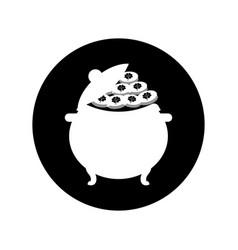 Cauldron with treasure icon vector