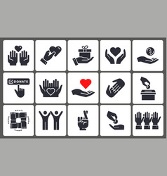 charity icon set collection donate volunteer vector image