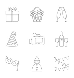 Children party icons set outline style vector