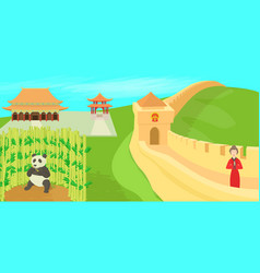 China landscape concept cartoon style vector