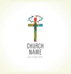 church cross crown thorns logo vector image