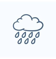 Cloud and rain sketch icon vector image