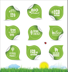 collection organic bio natural labels vector image
