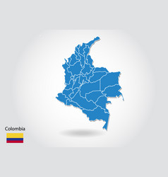 colombia map design with 3d style blue colombia vector image