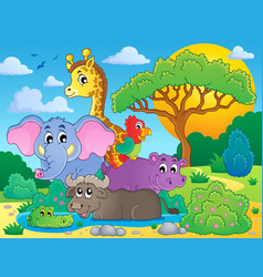 cute african animals theme image 8 vector image