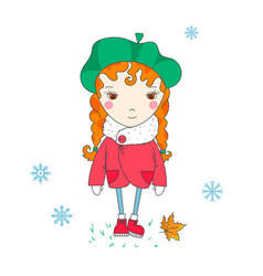 Cute girl winter vector