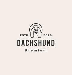 dachshund dog hipster vintage logo icon vector image