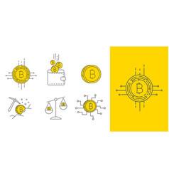 Digital gold bitcoin concept icon set vector