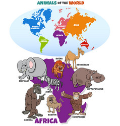 educational with african animals and continents vector image