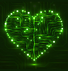 Eletronic circut board in shape of heart vector