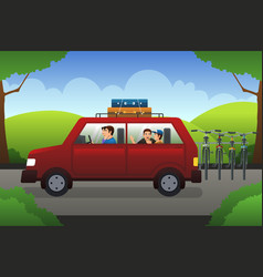 family on a road trip vector image