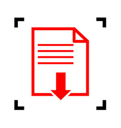 file download sign red icon inside black vector image