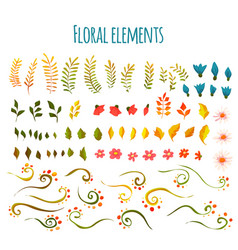 Floral element flowers and grass hand vector