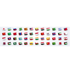giant asia flag set with asian country flags vector image