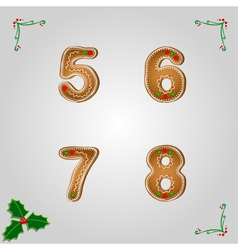 Gingerbread numbers 5 to 8 vector