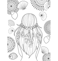 Girl with feathers on her heads and shells vector