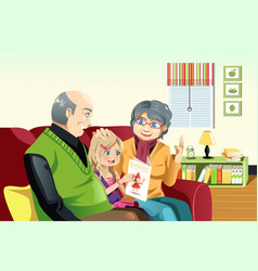 Grandparents and grandaughter reading vector