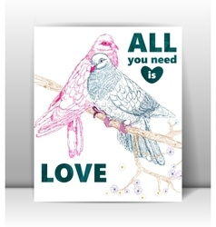 Greeting card with birds Love you vector