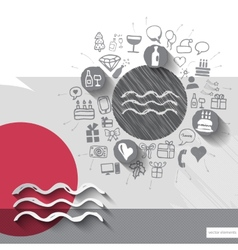 Hand drawn water icons with icons background vector