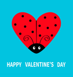 happy valentines day red flying lady bug insect vector image