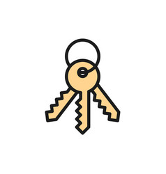 house keys security symbol flat color line icon vector image