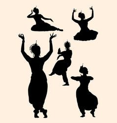 Indian dancer silhouette 01 vector