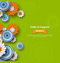 indian independence day holiday design 3d wheels vector image