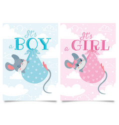 Its boy and girl cards baby shower label vector