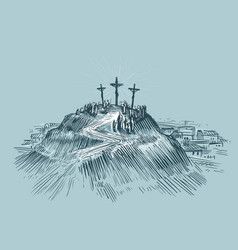 Jesus on cross mount golgotha art sketch vector