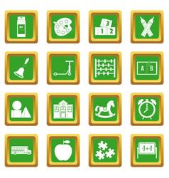 kindergarten symbol icons set green vector image