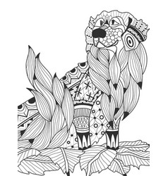 labrador retriever in the leaves coloring book for vector image